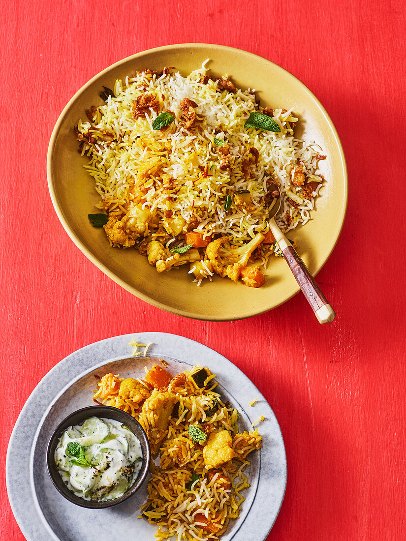 Vegetarian biryani with carrots, courgettes and cauliflower