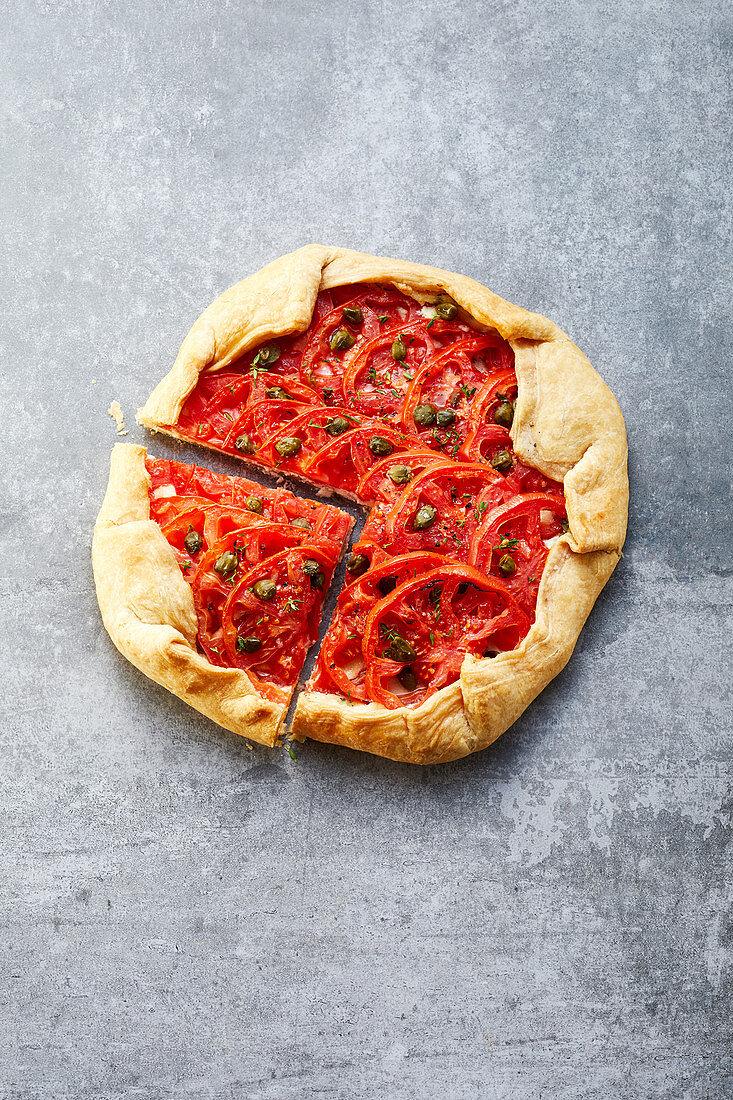 Quick puff pastry galette with tomatoes and almond cream