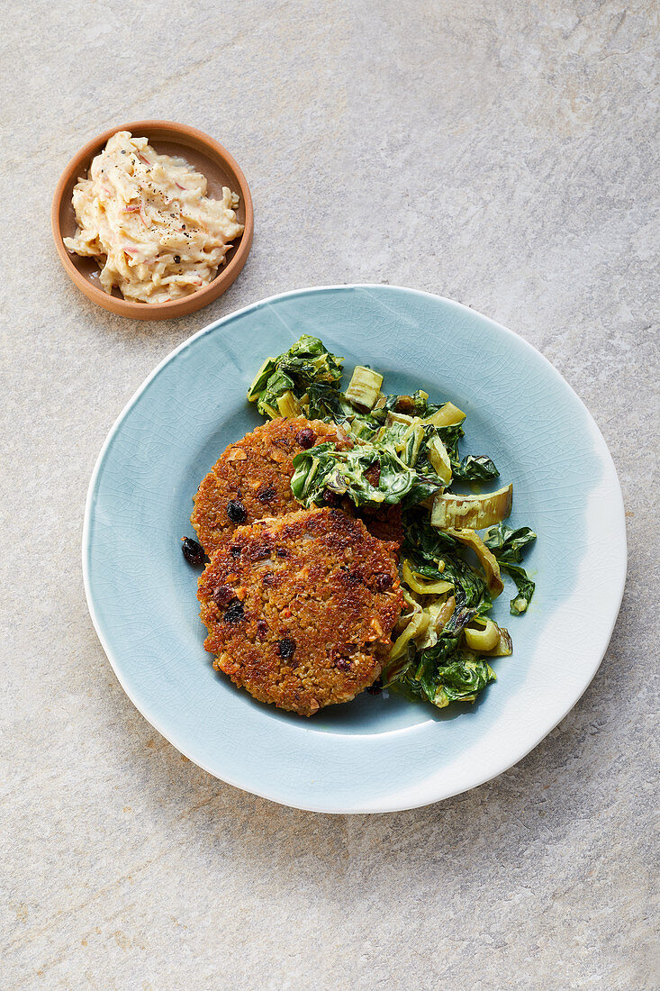 Freekeh fritters with chard and an apple dip