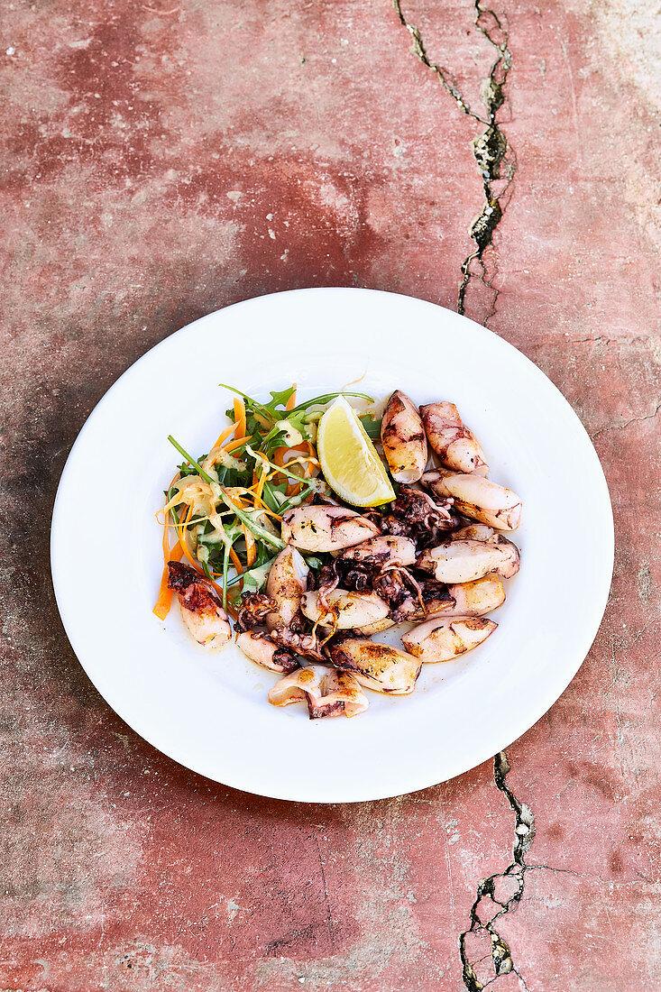 Calamari made on a plancha grill