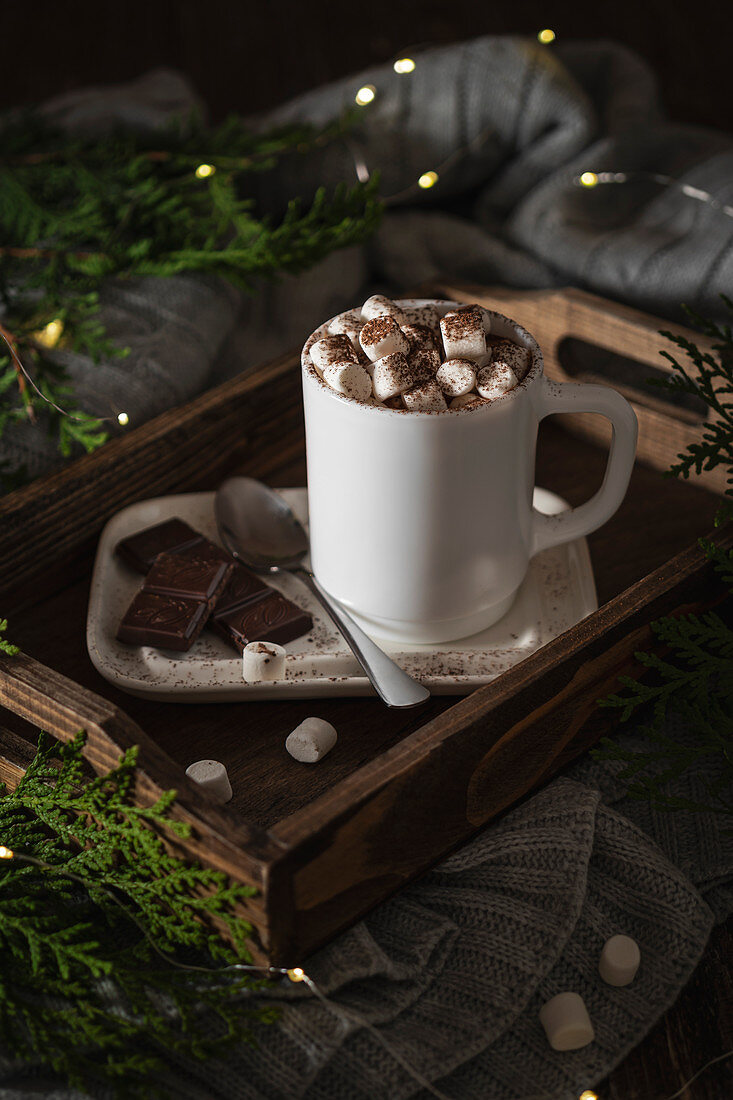 Hot drink with marshmallow with Christmas lights