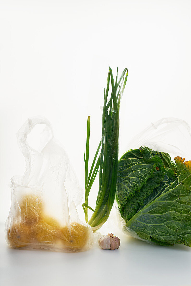 Food in plastic bags on white background, cabbage