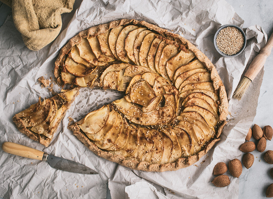 Apple Galette with chopped almonds