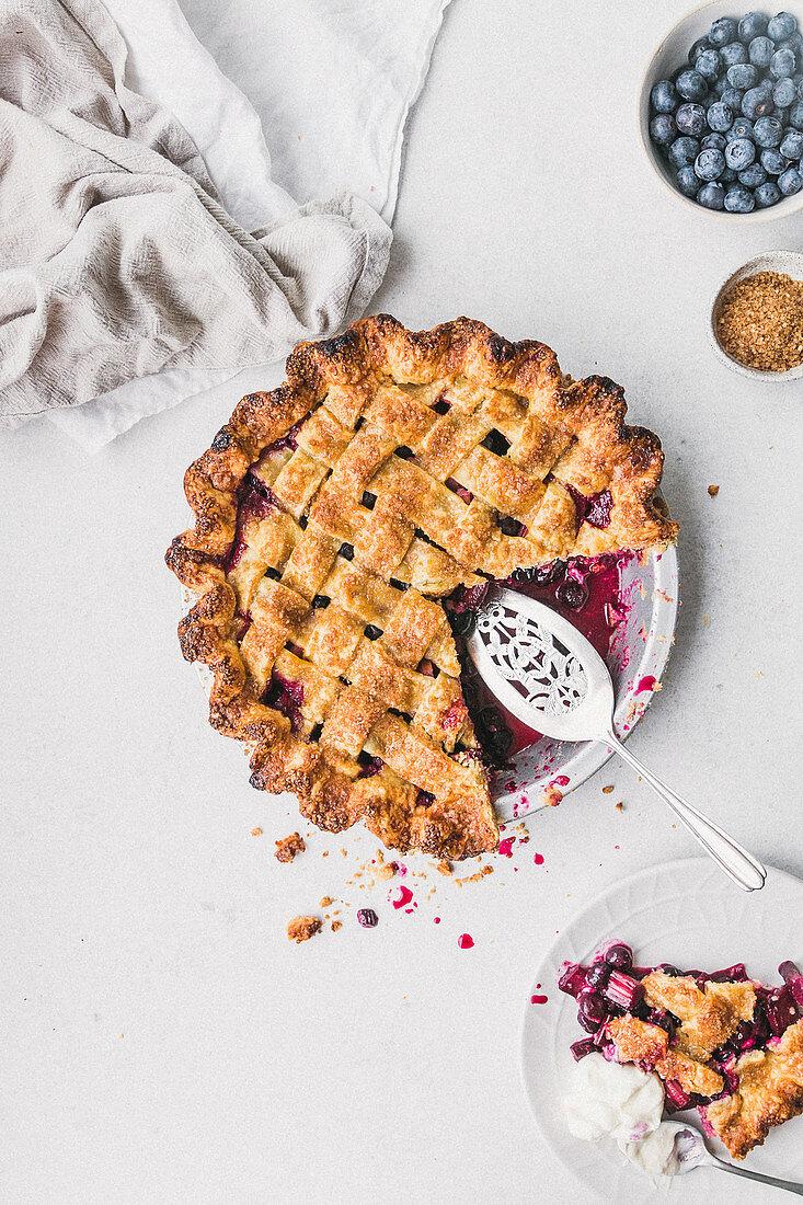 Blueberry Rhubarb Ginger Pie