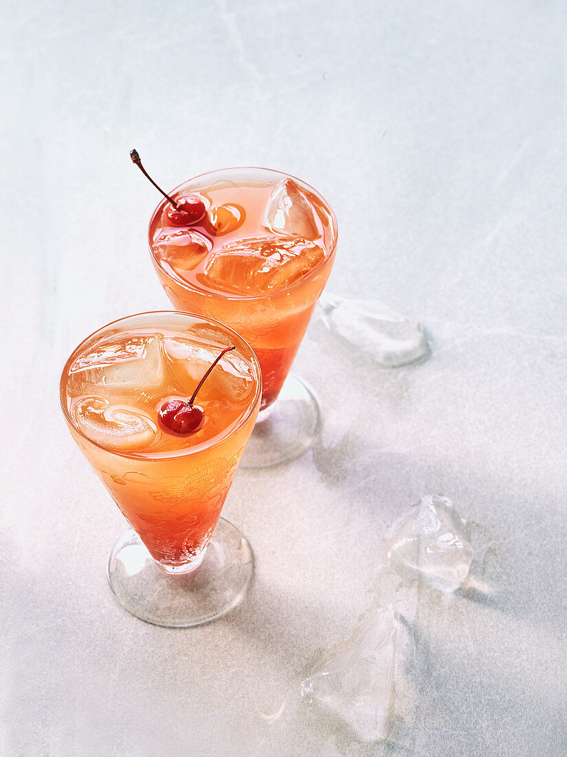 Tequila cocktail with orange juice and grenadine
