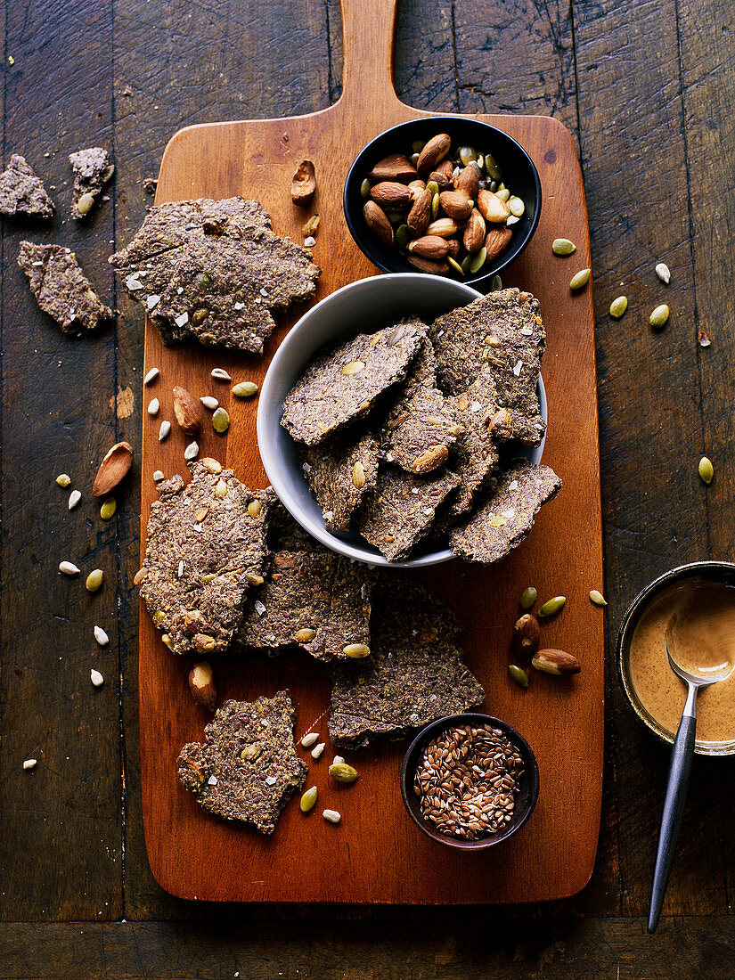 Gluten free flax seed crackers