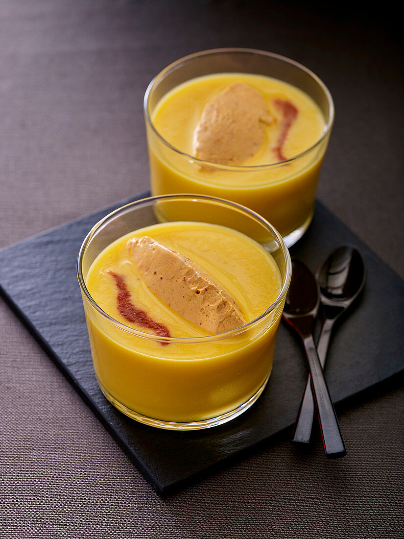 Sweet potato soup with goat's cheese mousse