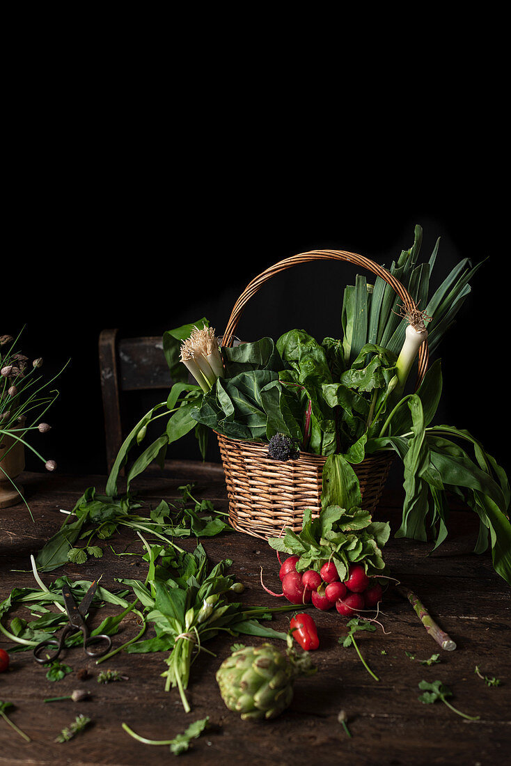 Wicker basket with various fresh green and edible herbs