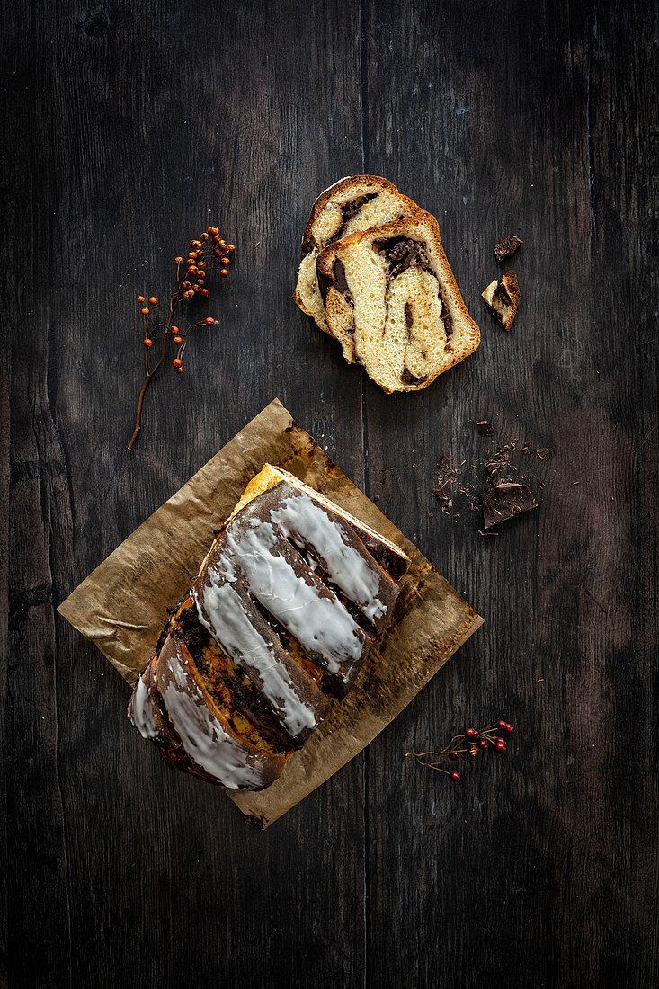 Chocolate banana cake made from sweet yeast dough