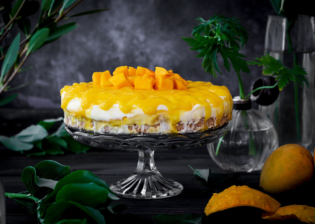 Mango cheesecake with Alphonso mangoes