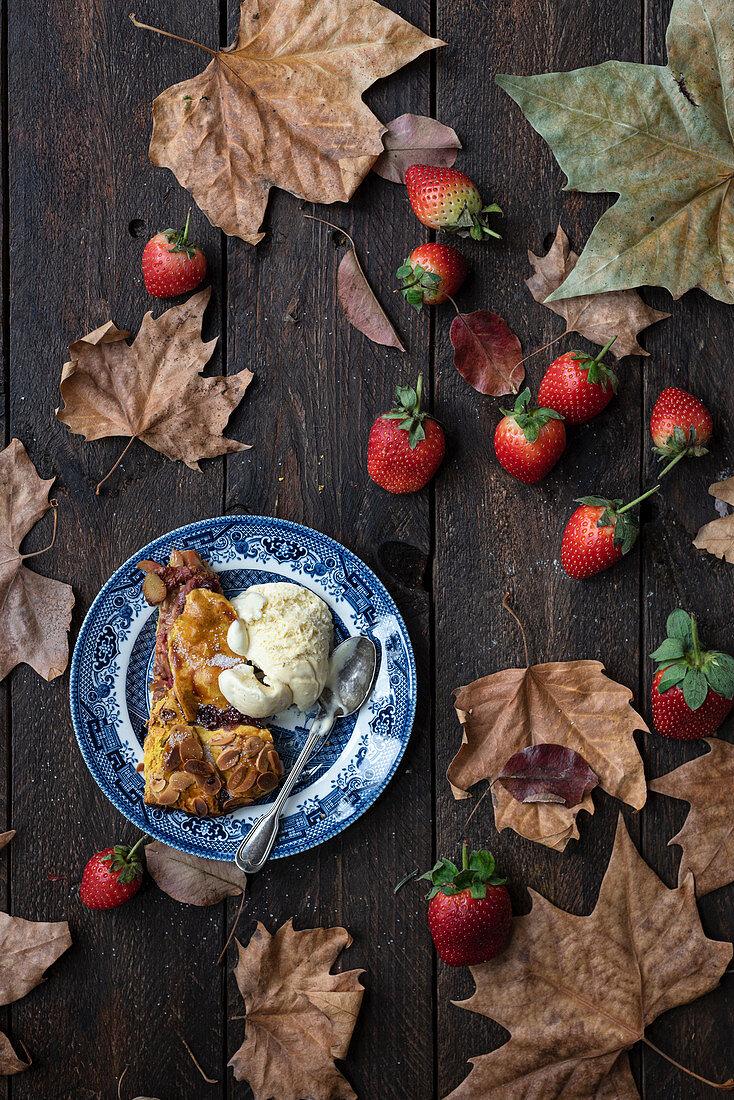 Dessert with scoop of ice cream