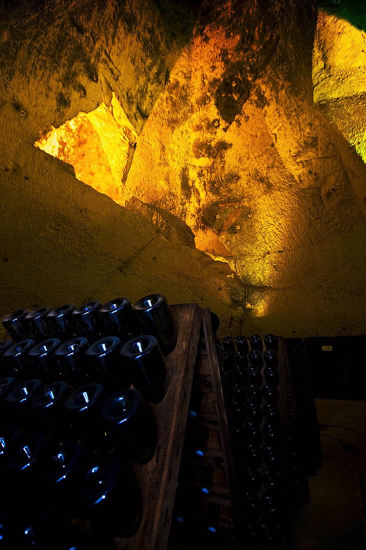A chalk cellar, Champagne Ruinart, Reims, France