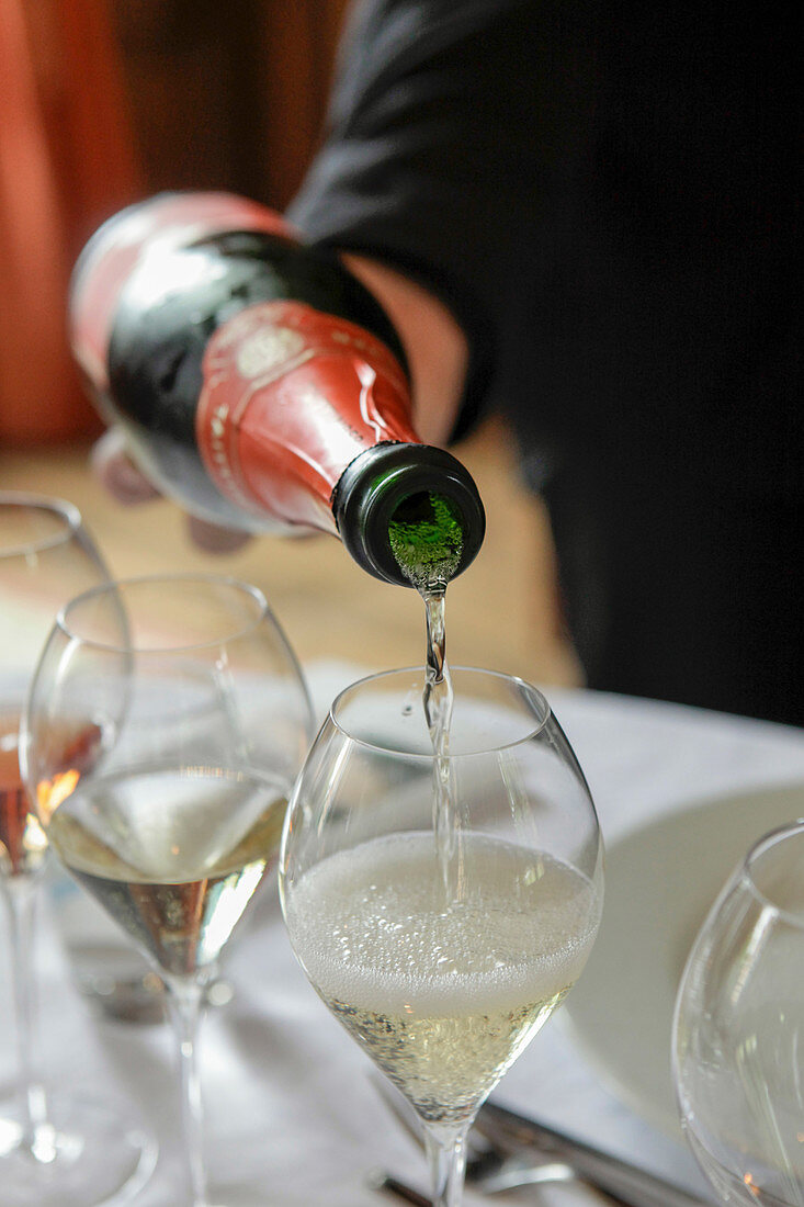 Taittinger Champagne being poured into a glass