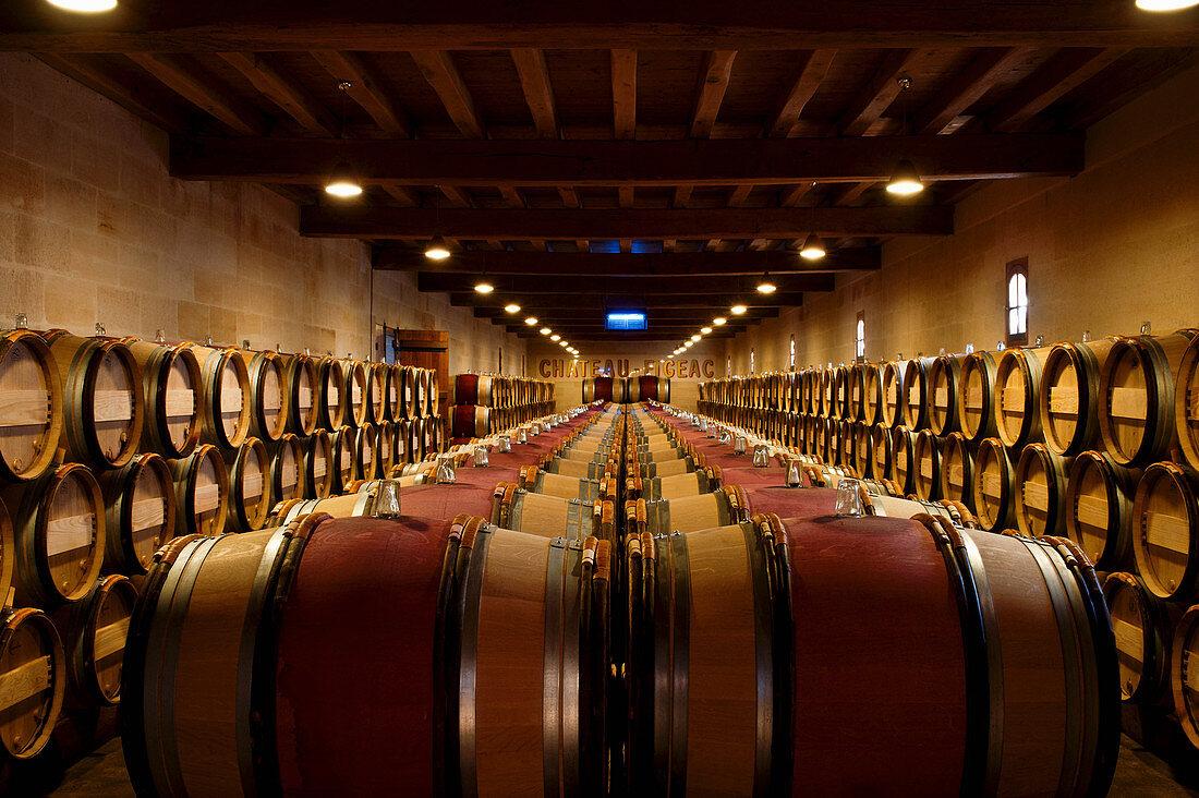 Barrique cellar, Chateau Figeac, Saint Emilion, Bordeaux, France