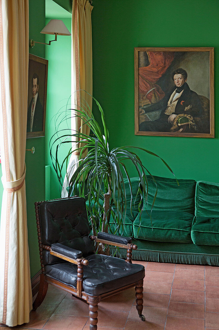 A green room in Chateau Lafite-Rothschild, Pauillac, Medoc, Bordeaux, France
