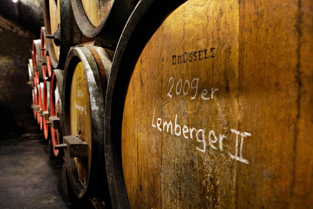 Wooden barrel, Graf Adelmann vineyard, Württemberg, Germany