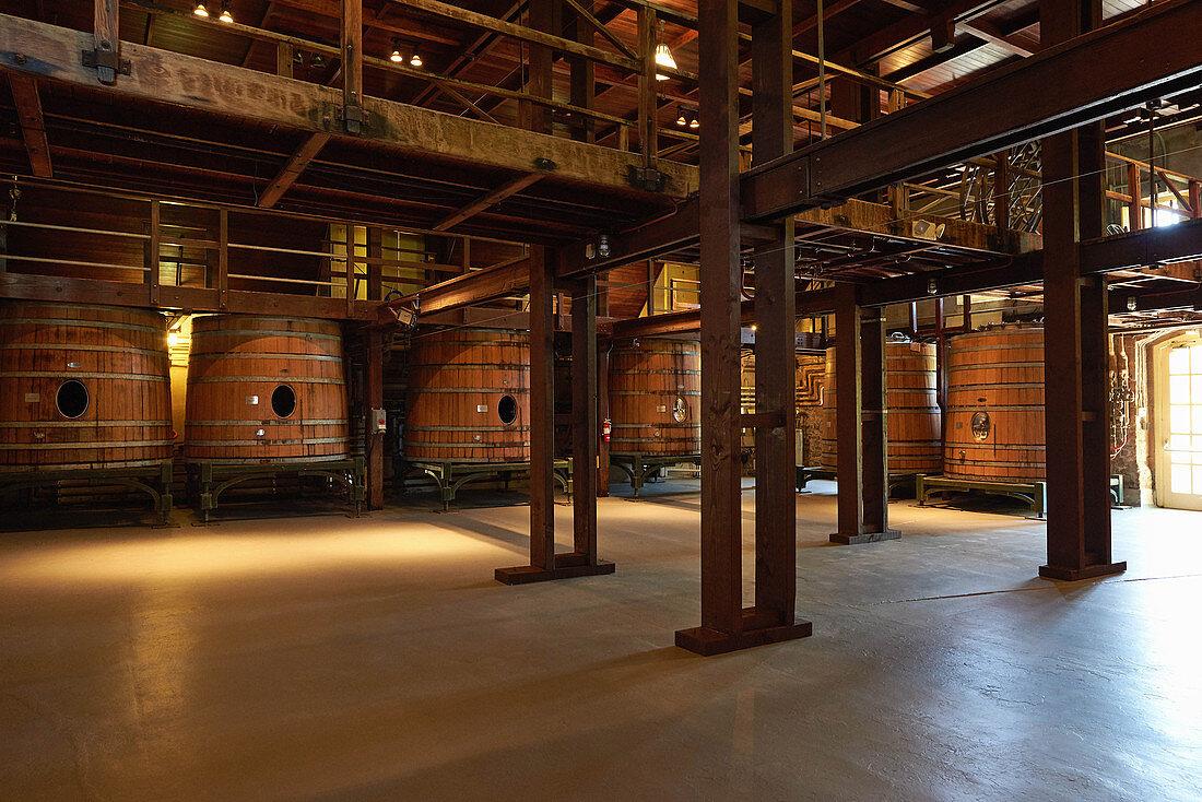Wooden barrels, Inglenook Winery, Napa Valley, California, USA