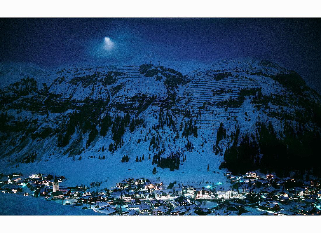 A snowy night in a mountainous landscape my moonlight, Lech, Arlberg, Austria
