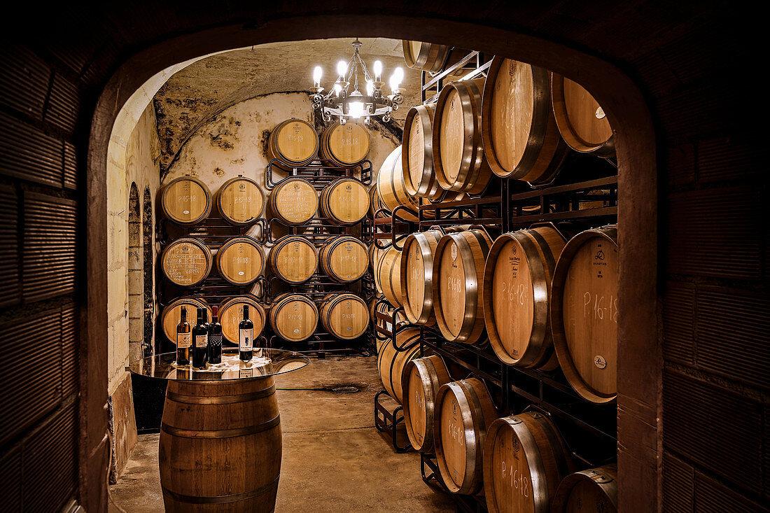 Barrique cellar, Miquel Gelabert, Majorca, Spain