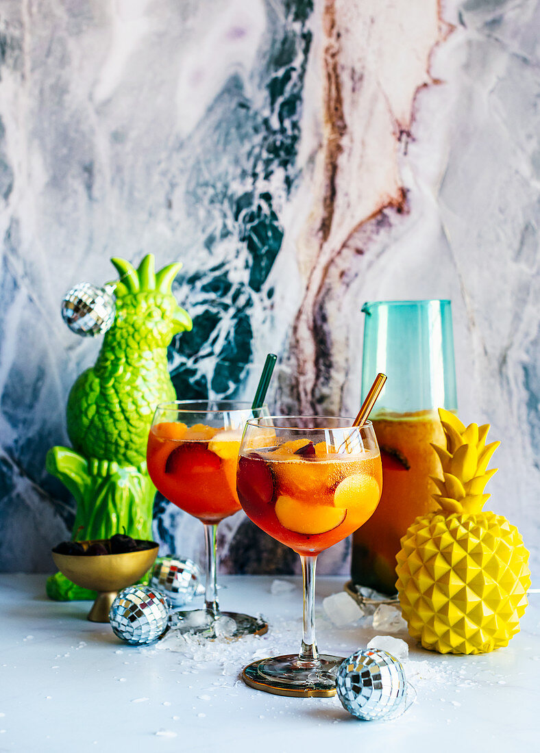 Stone Fruit Sangria in a New Years Eve party setting