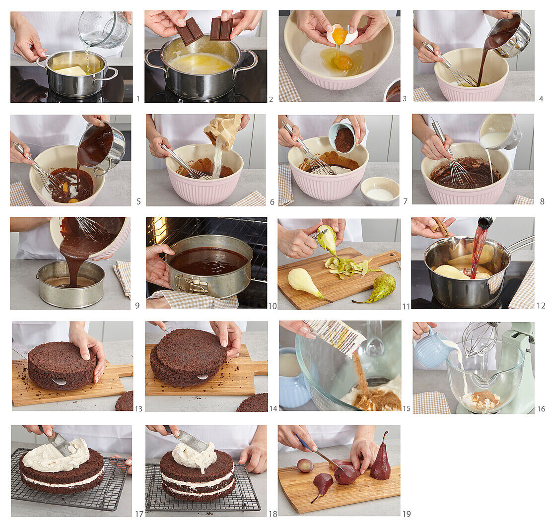 Baking gateau with poached pears