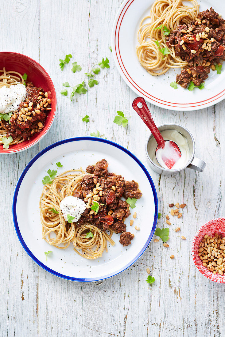 Spaghetti with lebanese-spiced lamb mince and pine nuts