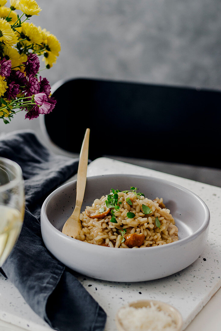 Porcini mushrooms risotto with thyme