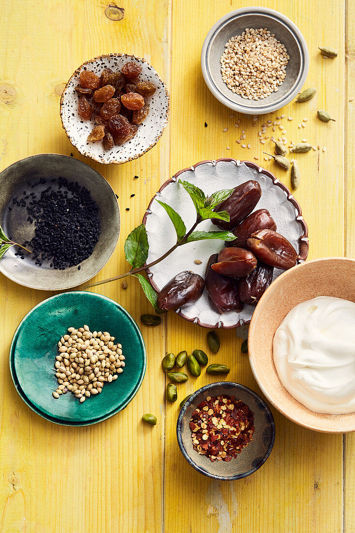 Ingredients and spices from oriental cuisine