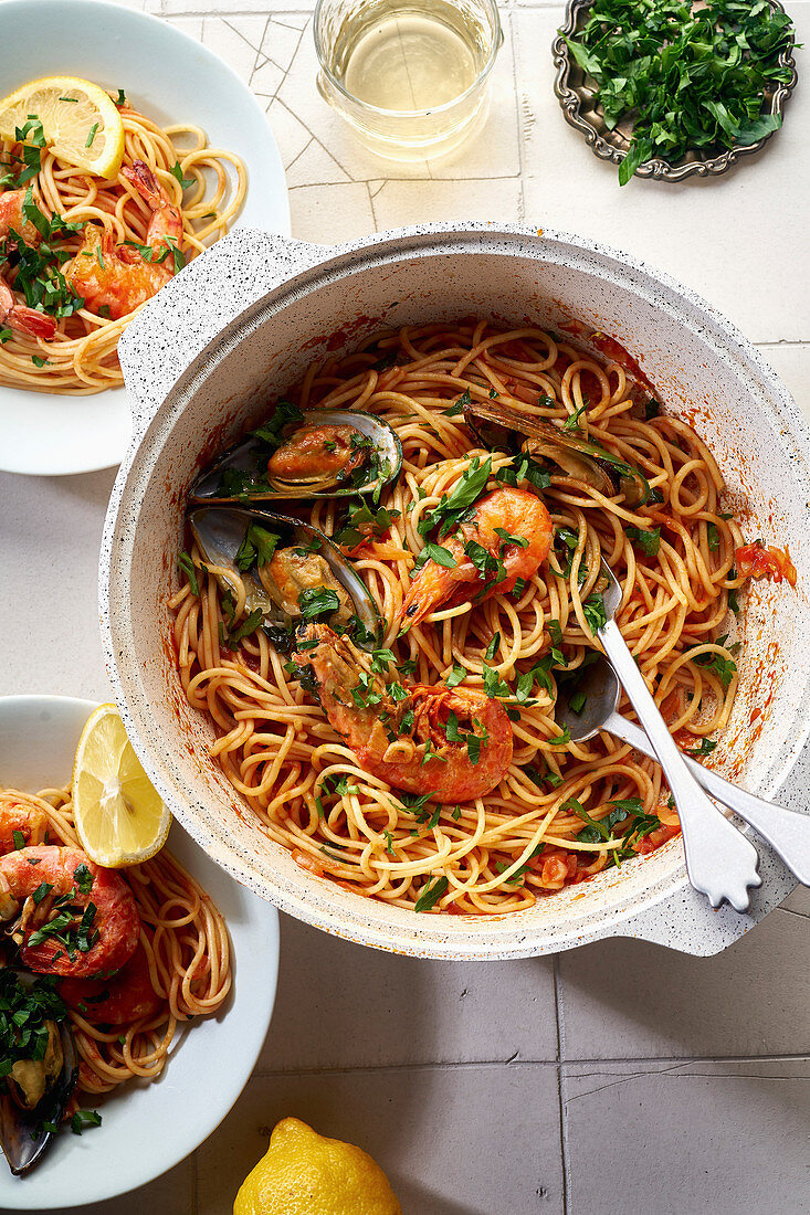 Seafood pasta with shrimps, mussels and tomato sauce