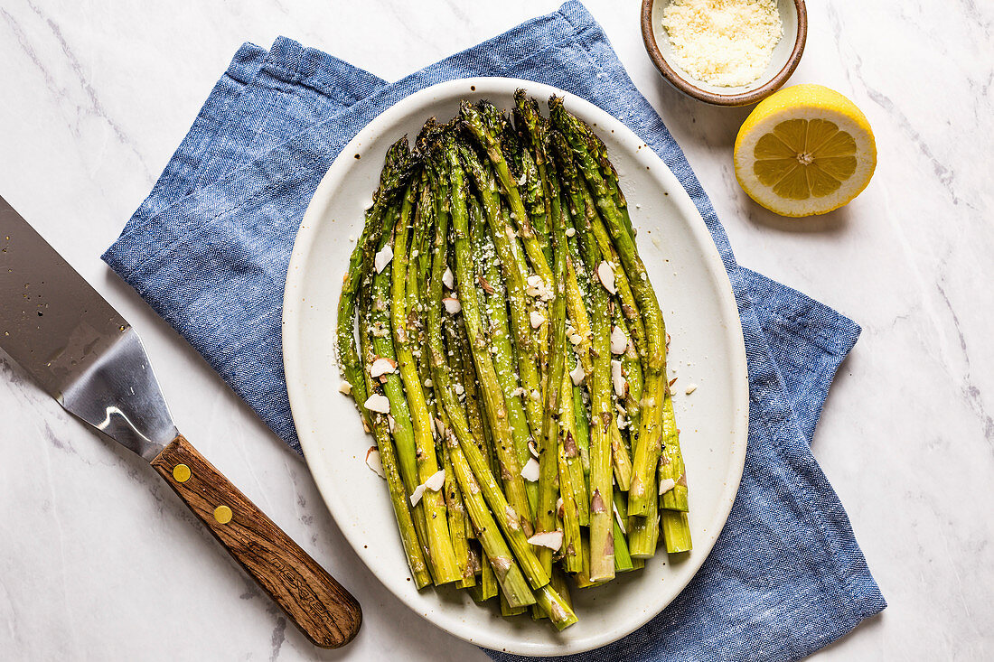 Roasted asparagus with lemon and parmesan