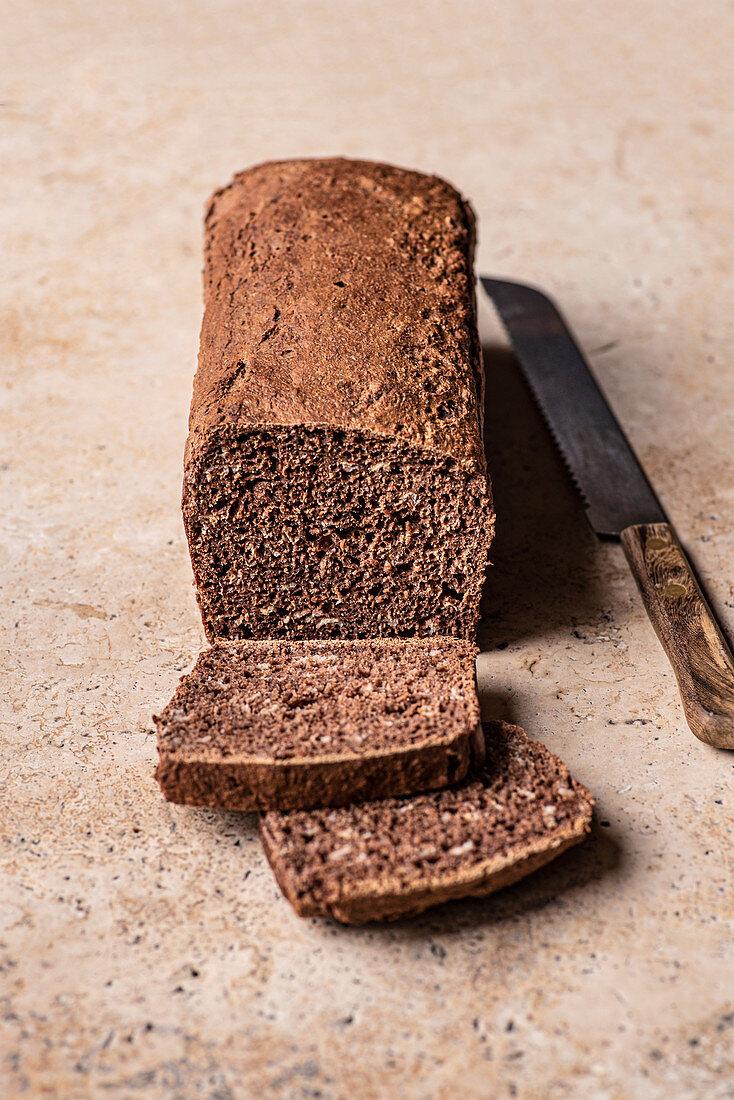 Dark rye sourdough bread