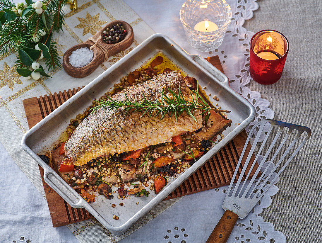 Christmas carp with stuffing