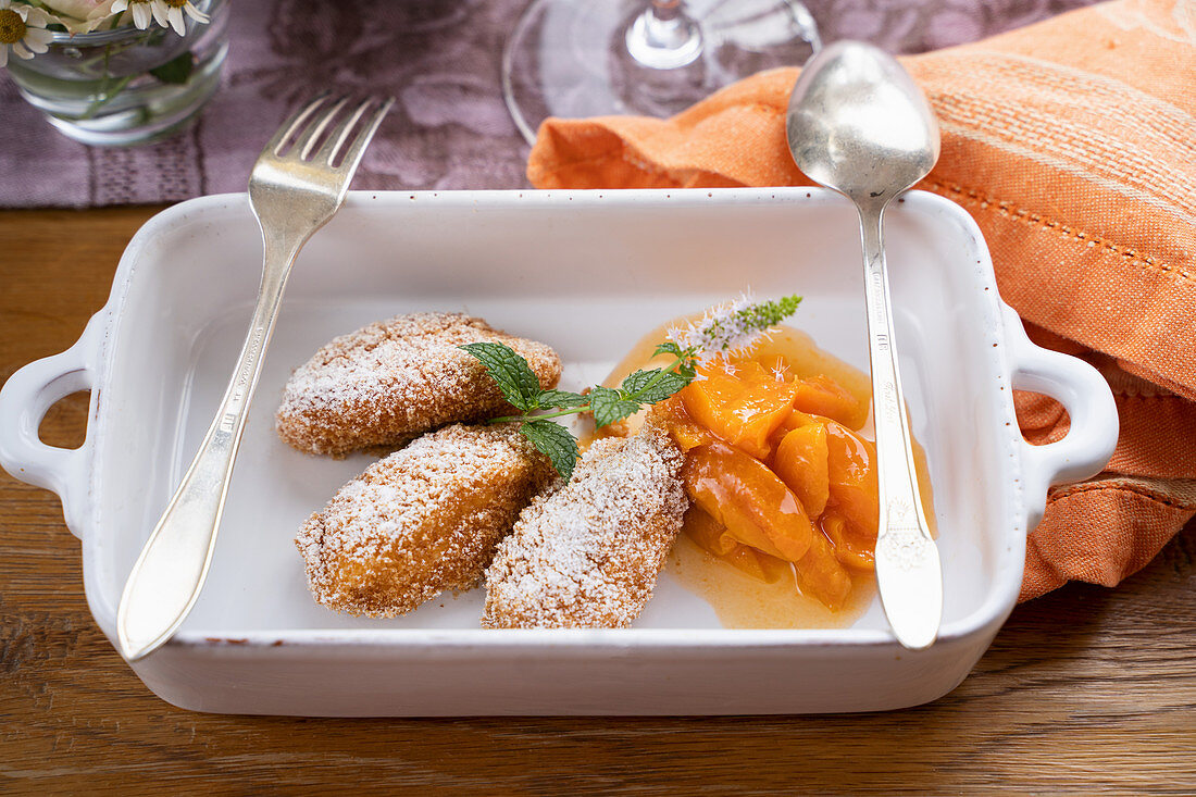 Carthusian dumplings with apricot compote