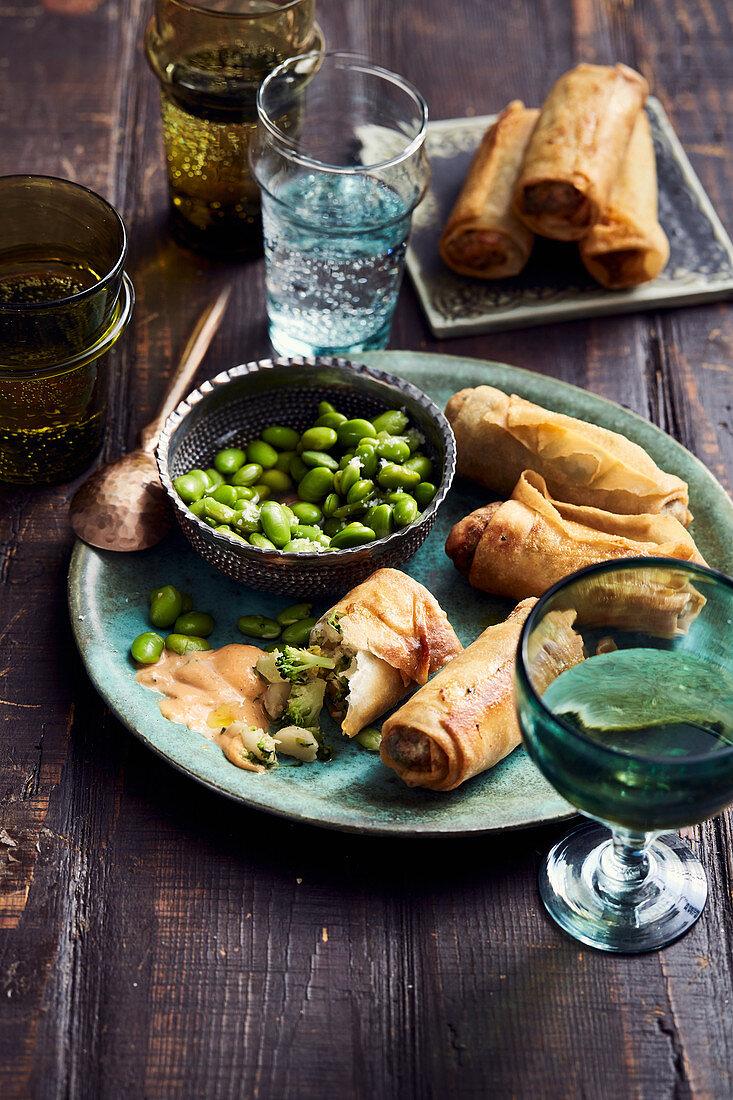 Broccoli-Macadamia Spring Rolls with Edamame and Vinegar Salad, Red Mango Curry