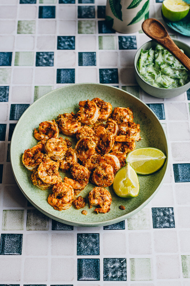 Masala Prawns with Buttermilk and Cucumber Raita and Limes