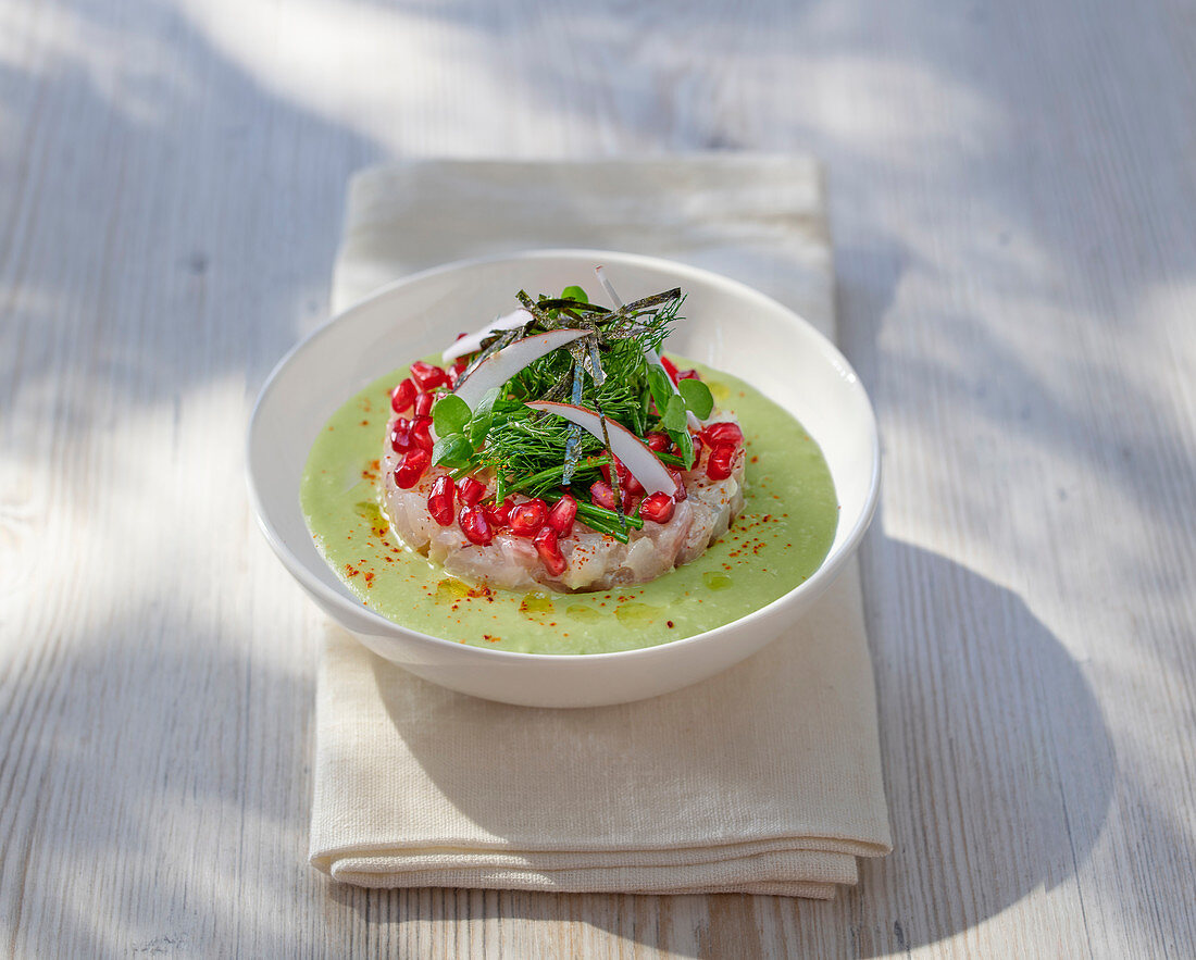Zander tartar with pomegranate seeds