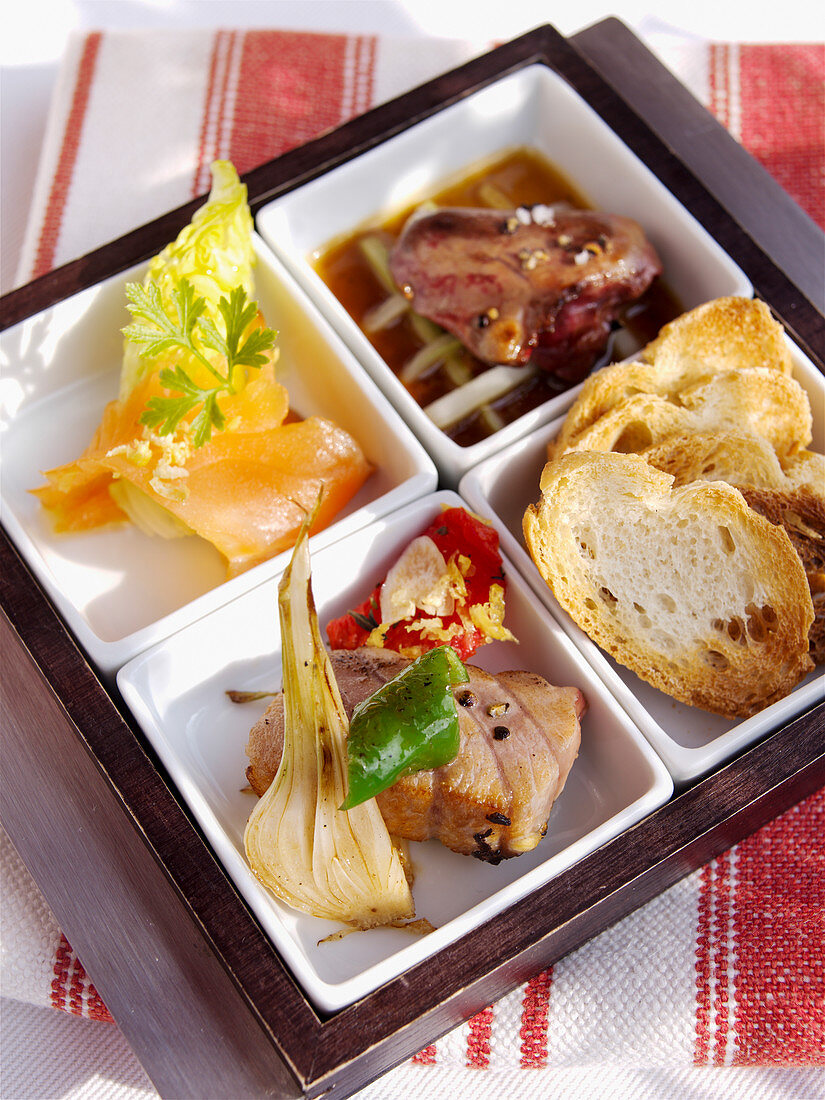 Amuse bouche with toasted bread