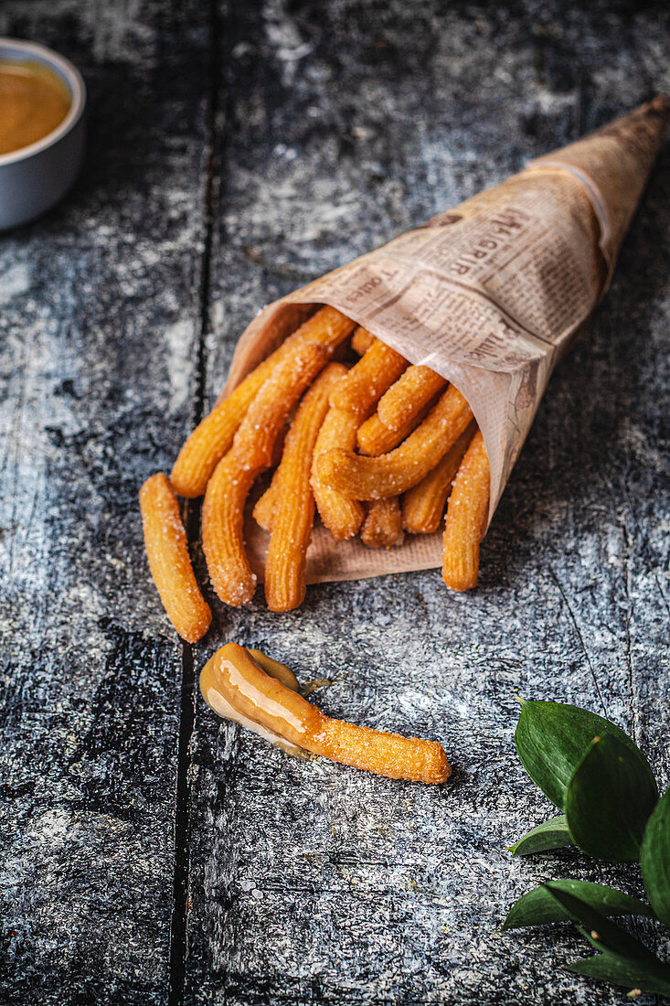 Vegan churros with salted caramel