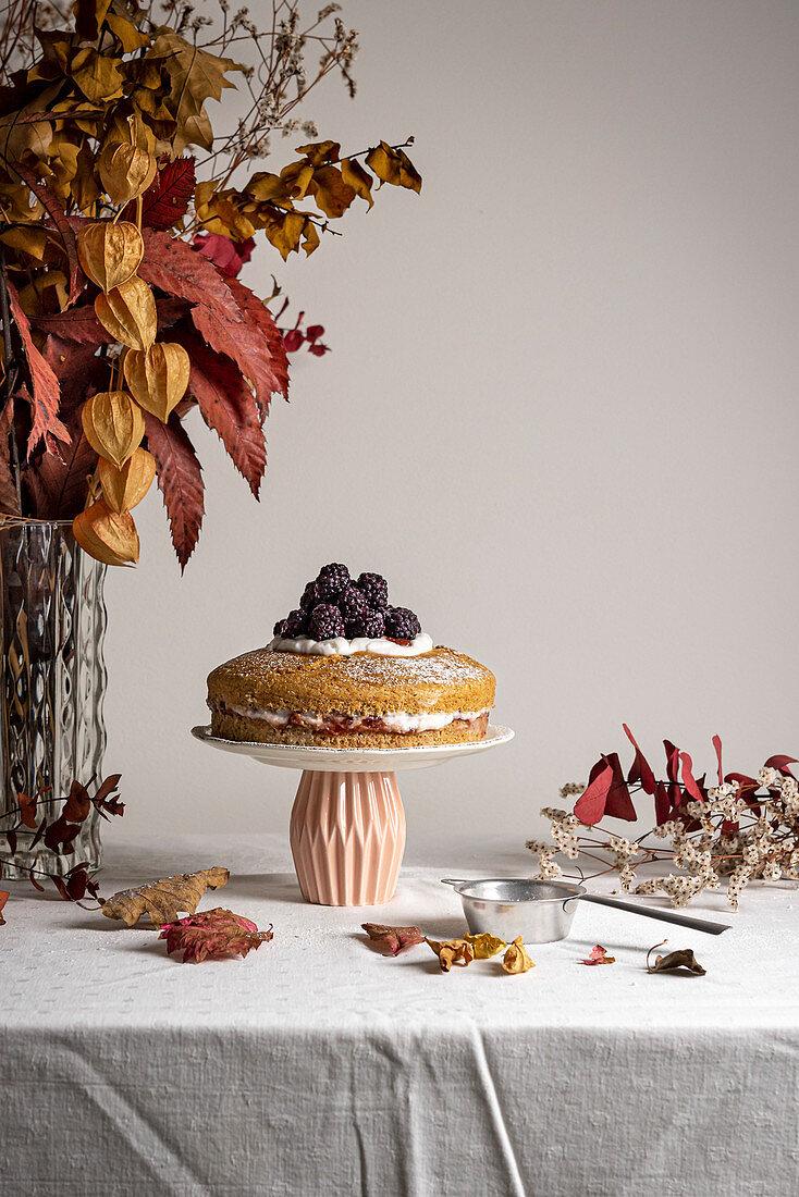 Vegan jam yogurt cake on cake stand