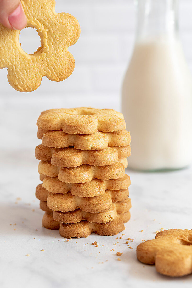 Stack of Canestrelli Italian Butter Biscuits with milk