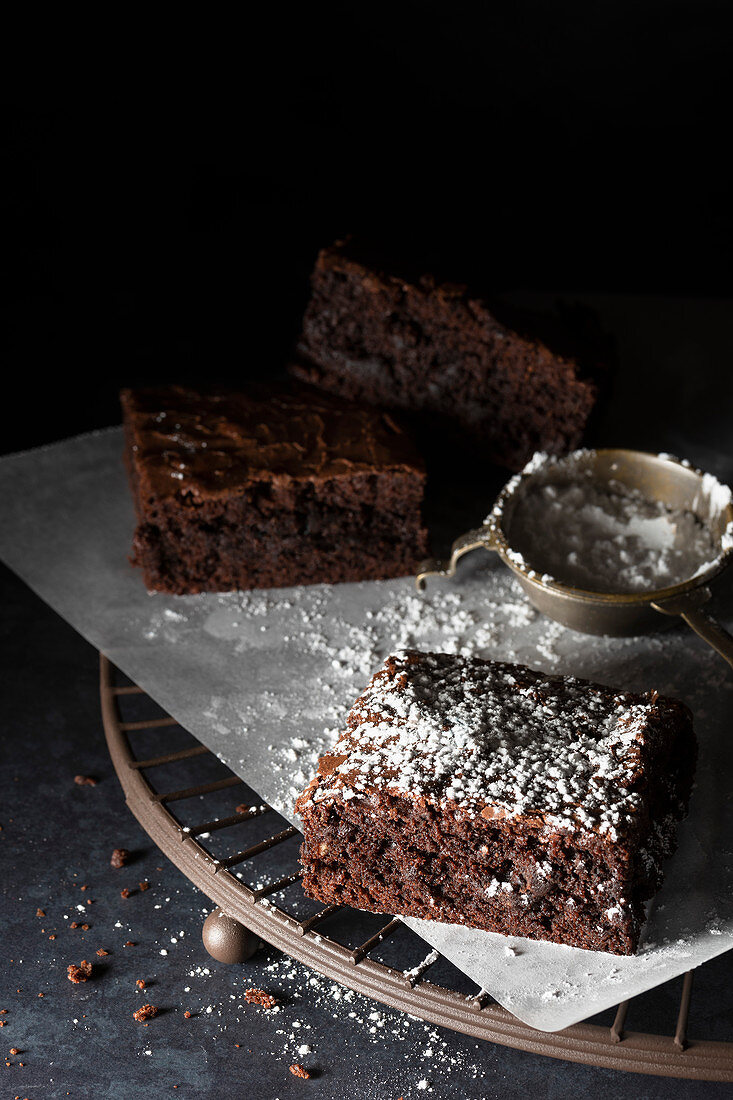 Chocolate brownies dusted with icing sugar