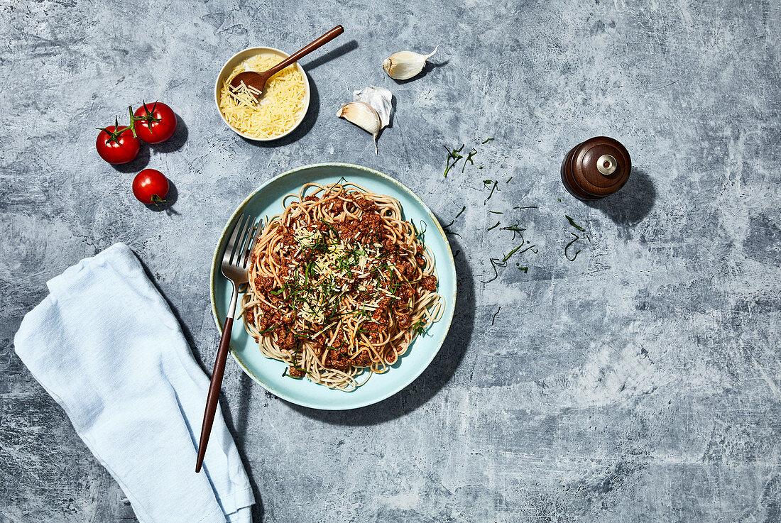 Healthy bolognaise with buckwheat pasta