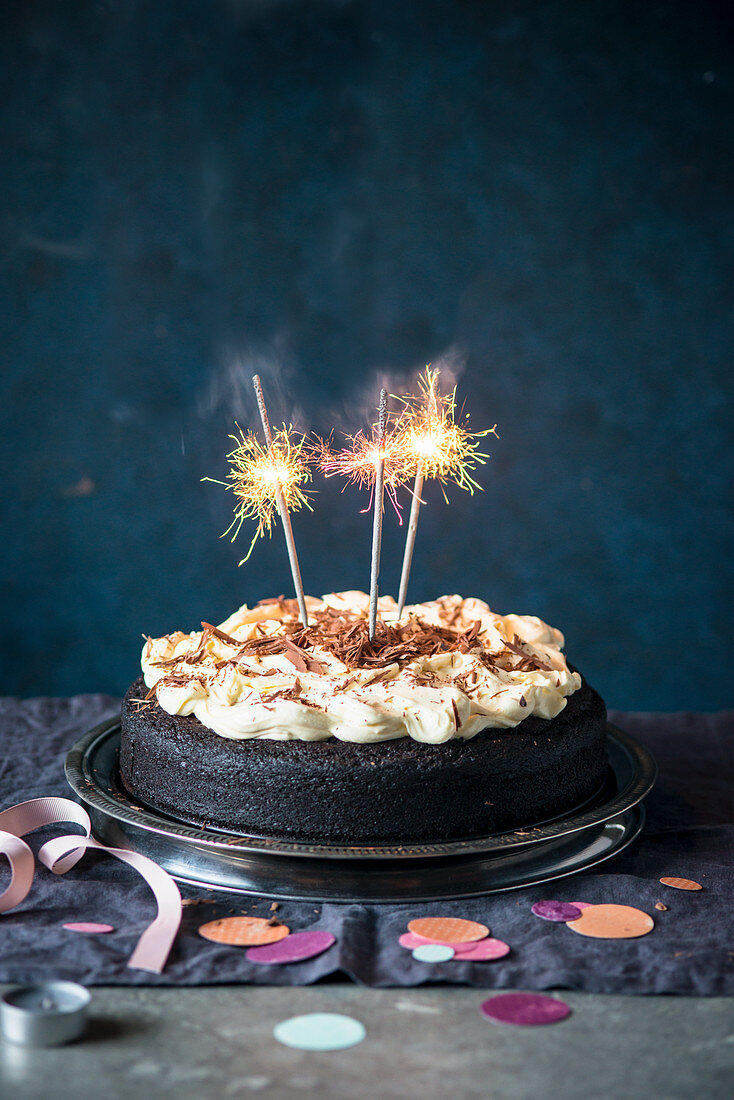 Guiness beer chocolate cake with cream cheese icing and sparkles
