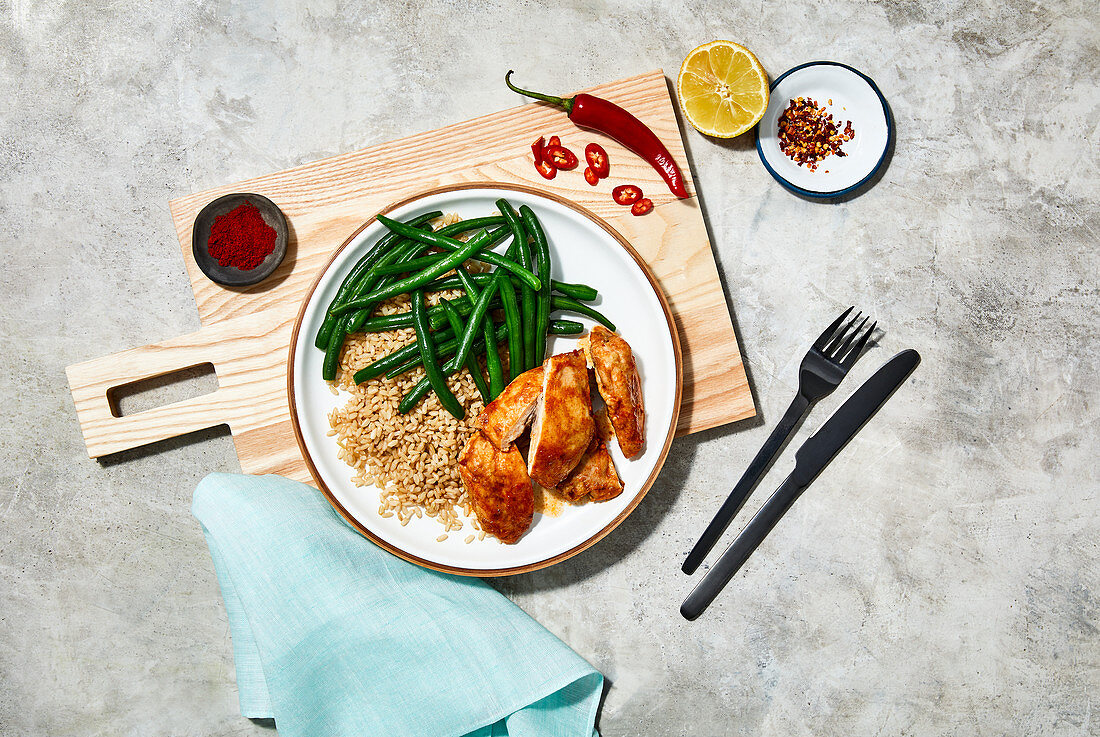 Portugese spiced chicken with green beans