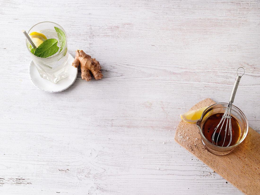 Lemon ginger lemonade and lemon ginger dressing