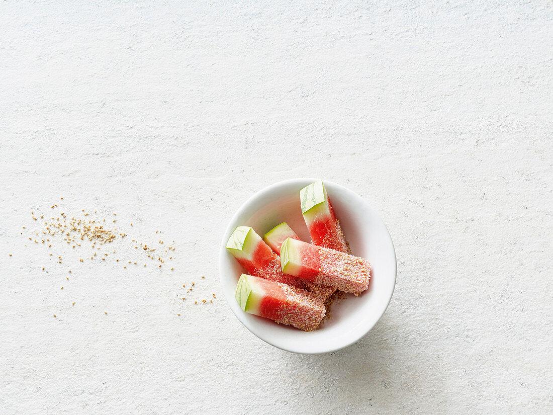 Watermelon with psyllium and salty sesame seeds (vegan)
