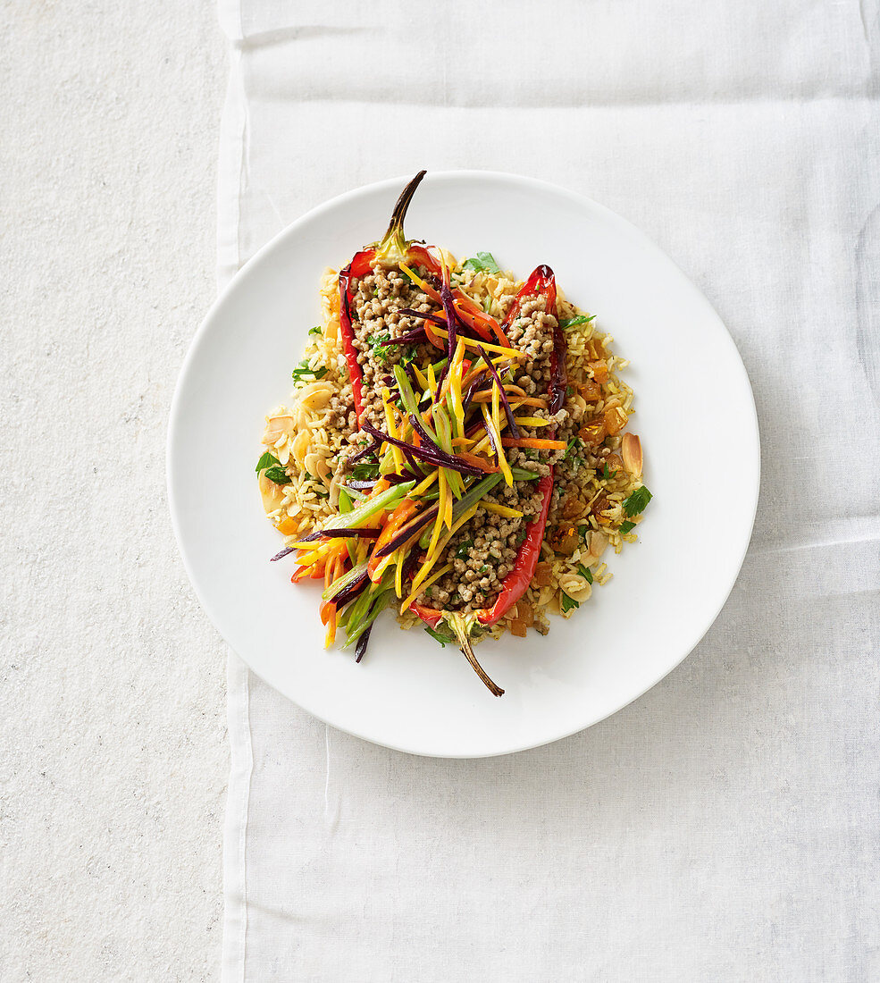 Stuffed peppers with fried brown rice and vegetables