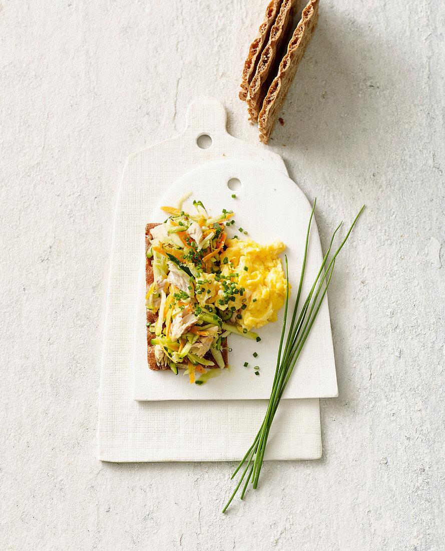 Mackerel and vegetable tartar on crispbread with scrambled eggs