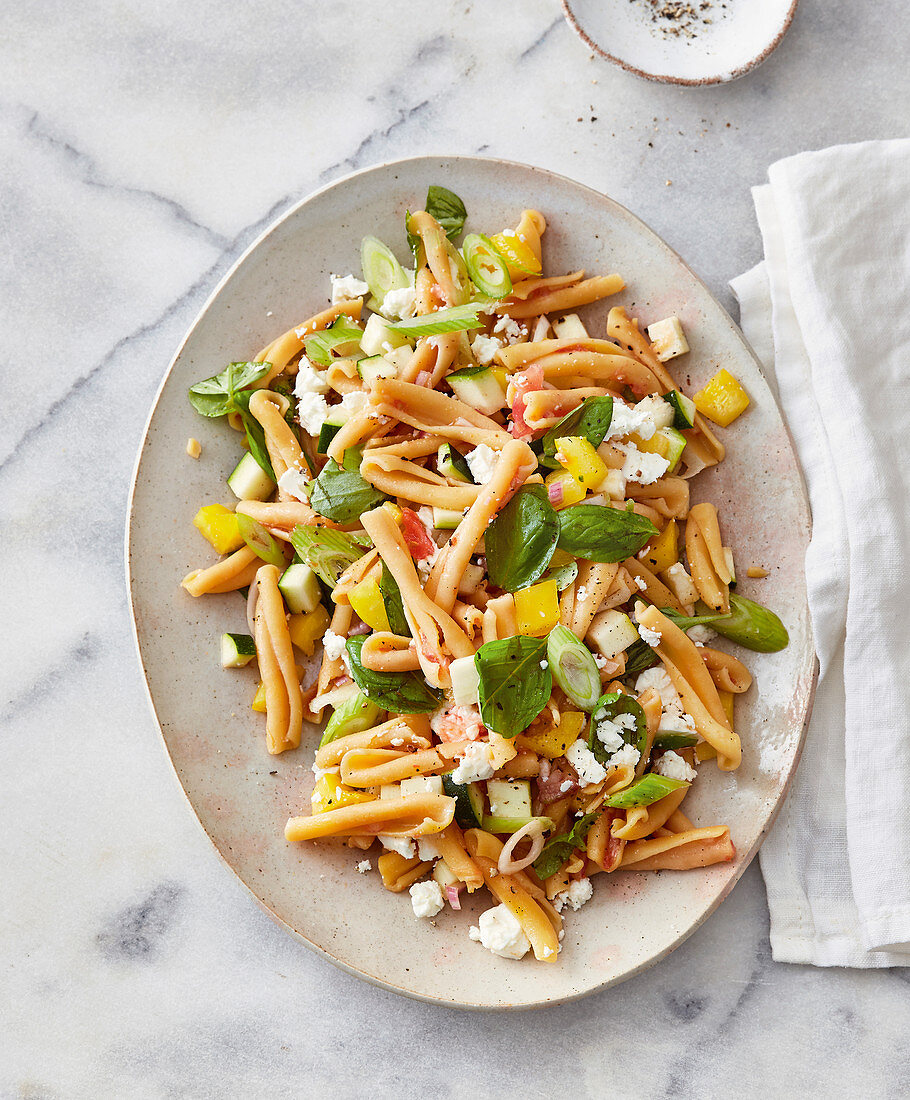Mediterranean pasta salad with feta cheese