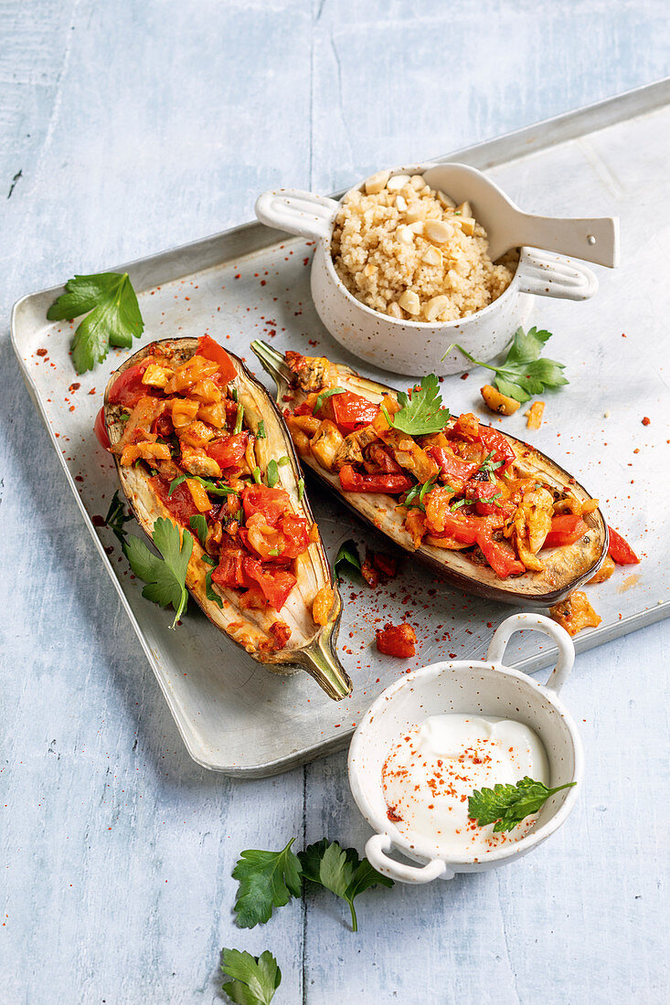 Stuffed aubergines with couscous